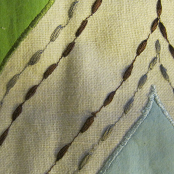 Detail of the embroidery and applique embellishment in this ogee-patterned fabric from Schumacher
