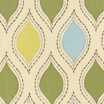 Overall pattern for Schumacher's woven ogee fabric in the 'chartreuse & sky' color
