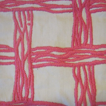 Close-up of the fabric's satin-stitched weave