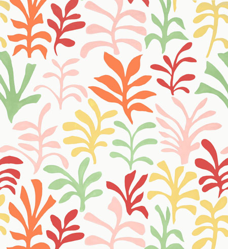 Schumacher's Matisse-inspired print fabric in the 'Punch' color