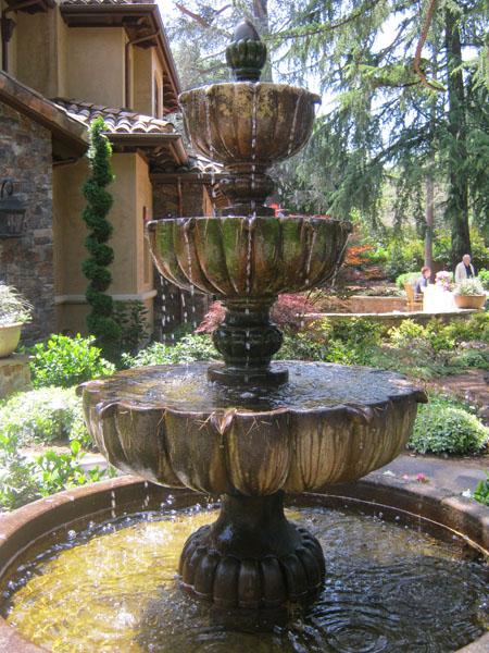 Fountain in the front garden of a Menlo Park home on the 2011 'Open Garden Days' Tour