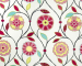 Fabricut's fanciful take on a Suzani look in the 'Tropical' colorway