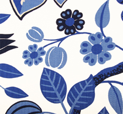 A transitional floral print from Duralee Fabrics in the blue & white 'Porcelain' color