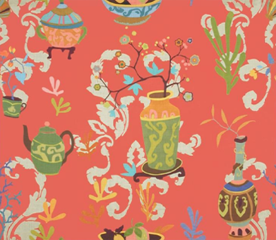 "Kravet's 'Teablossom' fabric in the ""Lacquer' color"