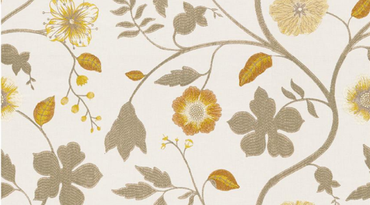 "Kravet's linen & cotton print fabric ""Whimsical Floral"" in the ""Saffron"" color."