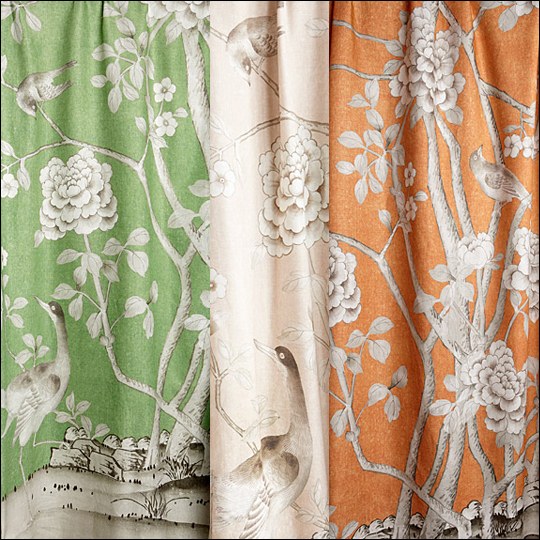 The Lettuce, Conch Blush and Tangerine colors of the Chinois Palais print
