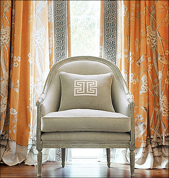 Schumacher's Chinois Palais print in the Tangerine colorway